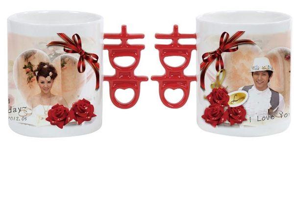 熱轉印紅囍字創意直筒馬克杯客製化紀念杯-Fruit Shop