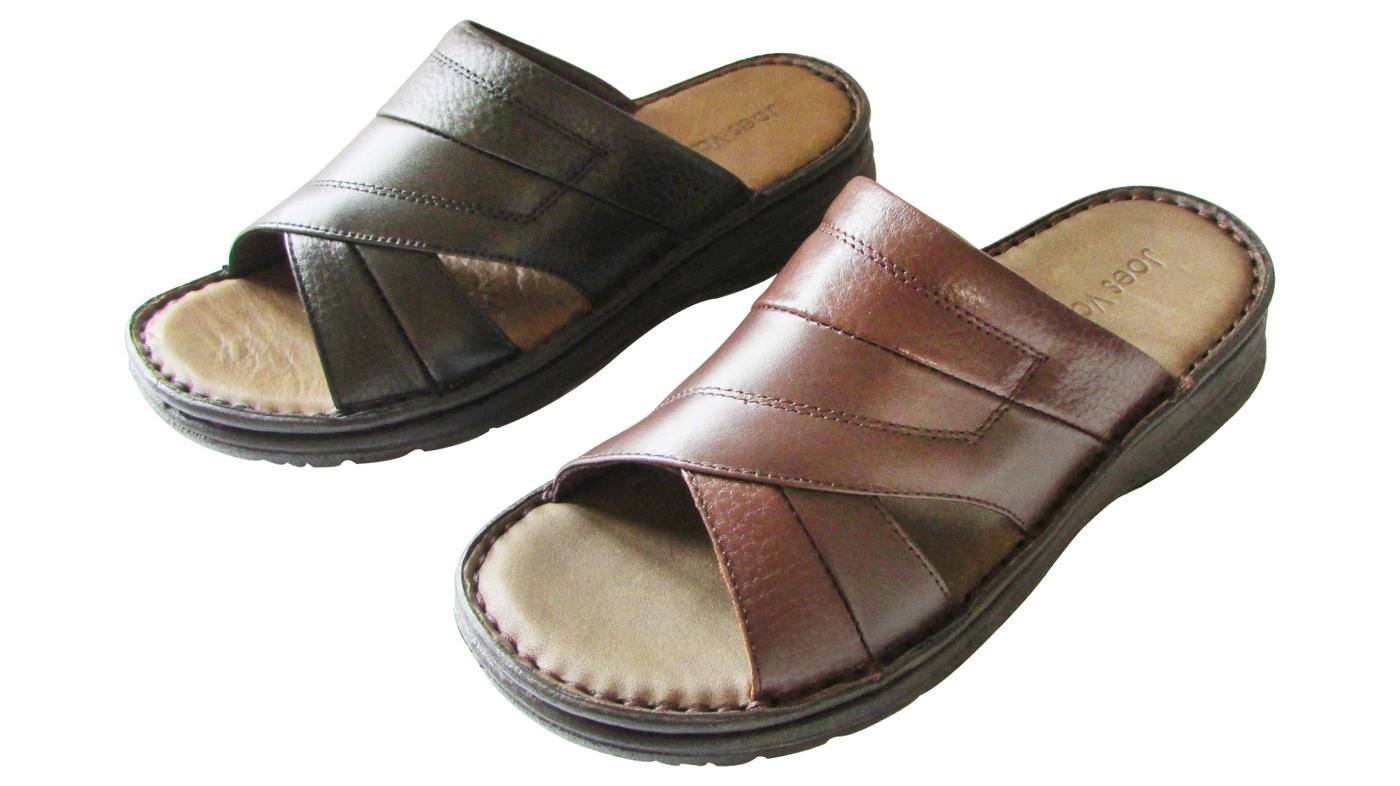 『雙惠鞋櫃』◆JOES VALENTINY◆ 休閒舒適 男真皮拖鞋  ◆ (2111) 黑、咖