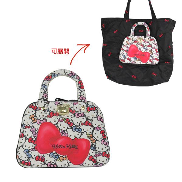 Hello Kitty購物袋 大蝴蝶結提包造型環保摺疊收納購物袋/手提袋/環保購物袋 [喜愛屋]