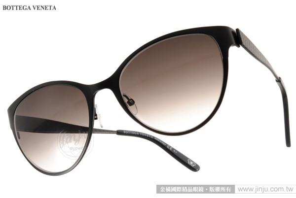 BOTTEGA VENETA太陽眼鏡BV261S 4EXJS黑優雅格調簡約貓眼款金橘眼鏡