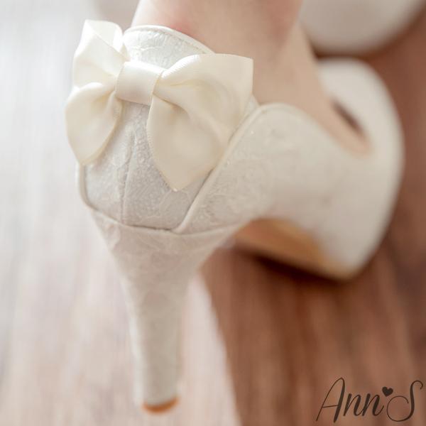 Ann S Bridal幸福婚鞋凡爾賽蕾絲蝴蝶結厚底跟鞋-白