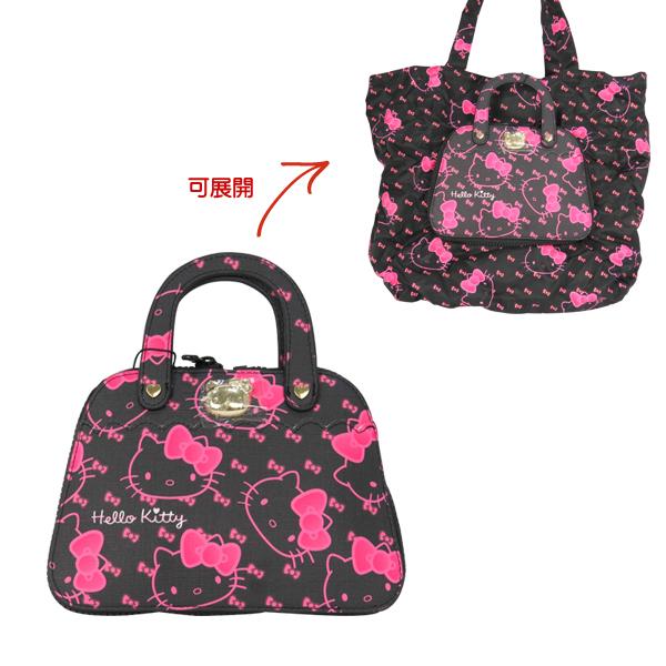 Hello Kitty購物袋 滿版黑大臉提包造型環保摺疊收納購物袋/手提袋/環保購物袋 [喜愛屋]