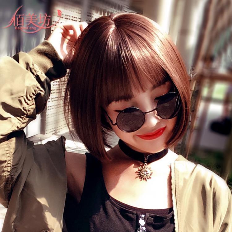 假髪女短髪bobo波波頭假髪套韓國空氣劉海中長直髪自然逼真短卷髪