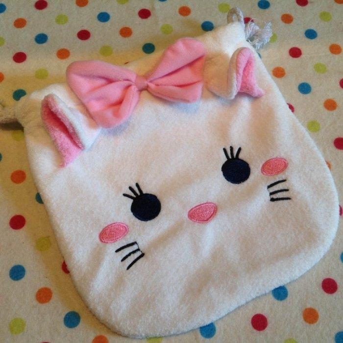 發現好貨迪士尼tsumtsum瑪麗貓白貓毛絨刺繡束口袋拉繩袋拍立得收納包雜物包