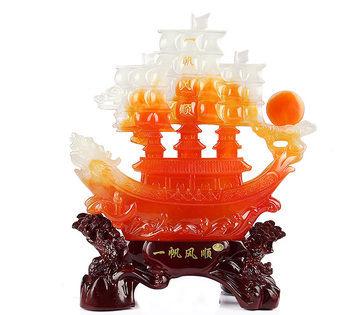 【大】一帆風順船擺件龍舟船模型
