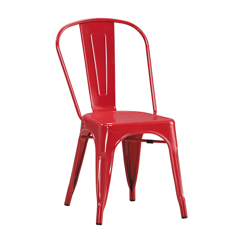 森可家居工業風鐵餐椅紅色6JX667-5美式復古餐椅子