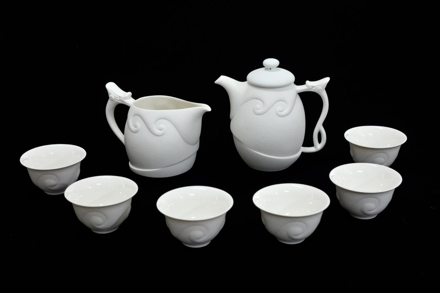 頂級龍紋茶具 *龍形天下*(白龍王-瓷)-- 鄧丁壽設計  陶.瓷.竹.木.鐵.石 茶具專賣