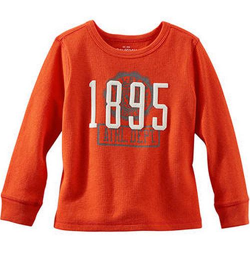 Carter's/OshKosh B'gosh 美國童裝 1895 純棉T恤 長袖 橘紅色 12M 18M 24M