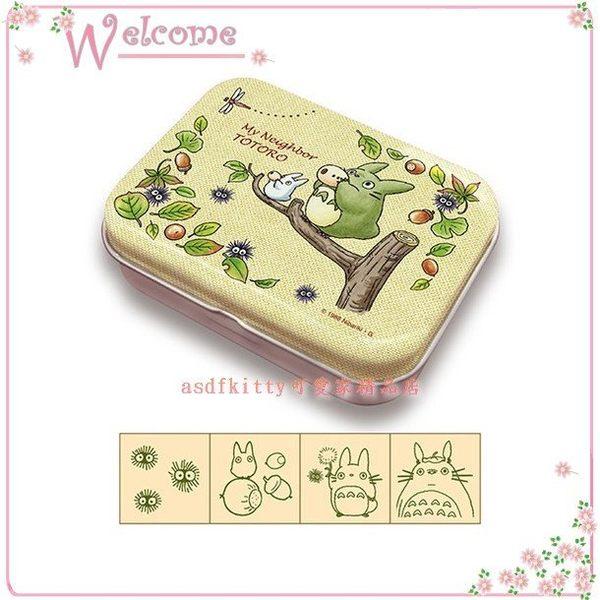 asdfkitty可愛家☆龍貓TOTORO樹上版木製印章組附收納鐵盒-日本正版商品-日本製