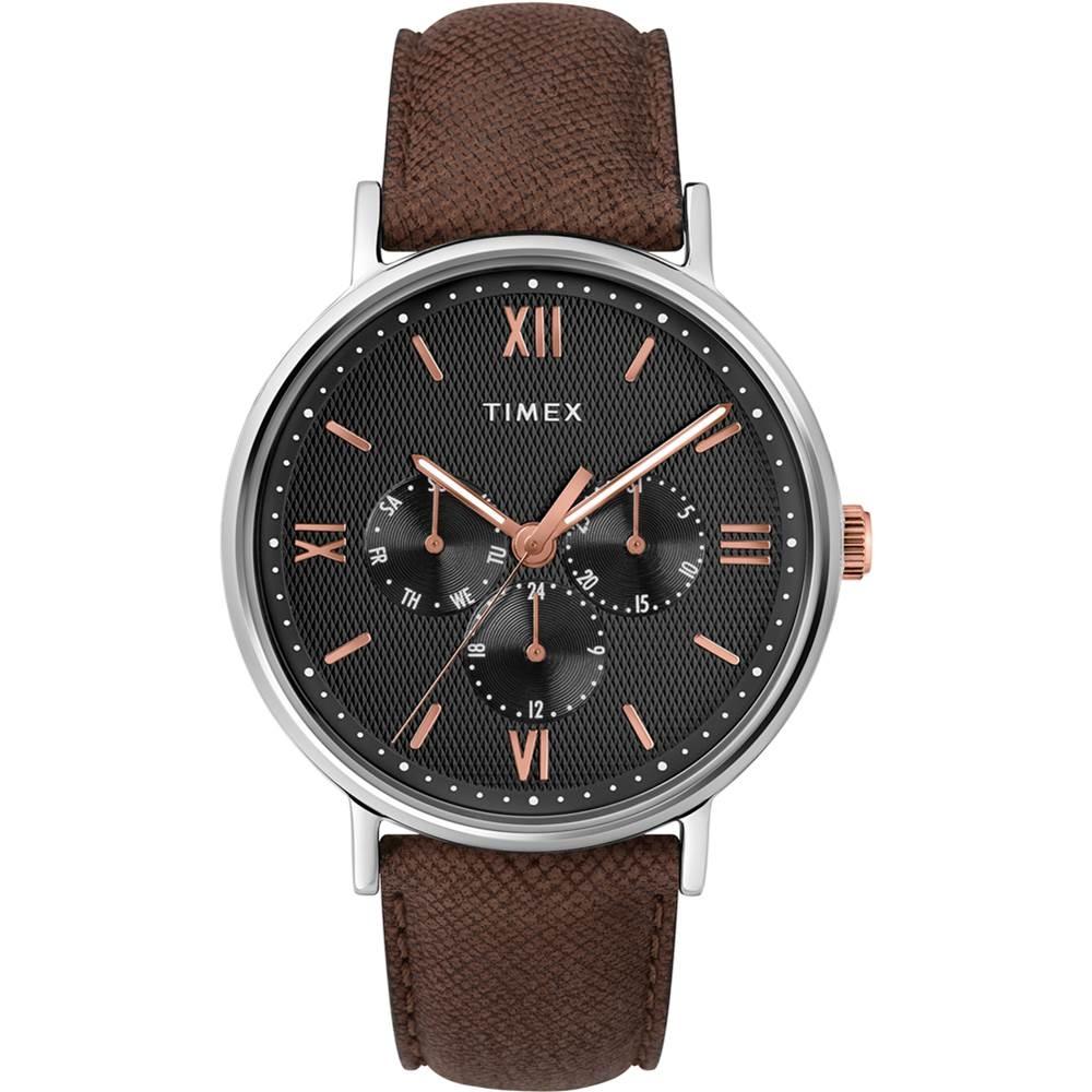 【TIMEX】天美時 風格系列 羅馬字三眼多功能手錶  (咖啡/黑TXTW2T35000)