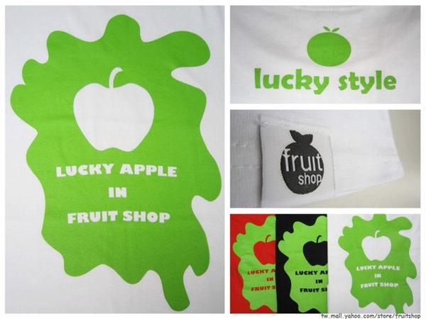 lucky style潑漆印花圓領上衣‧白色‧棉T-【Fruit Shop】