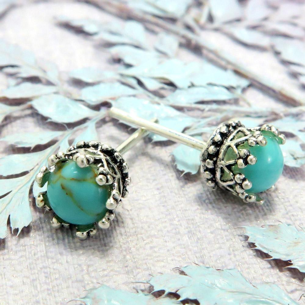 耳環 優雅翠冠-土耳其藍  925純銀耳環