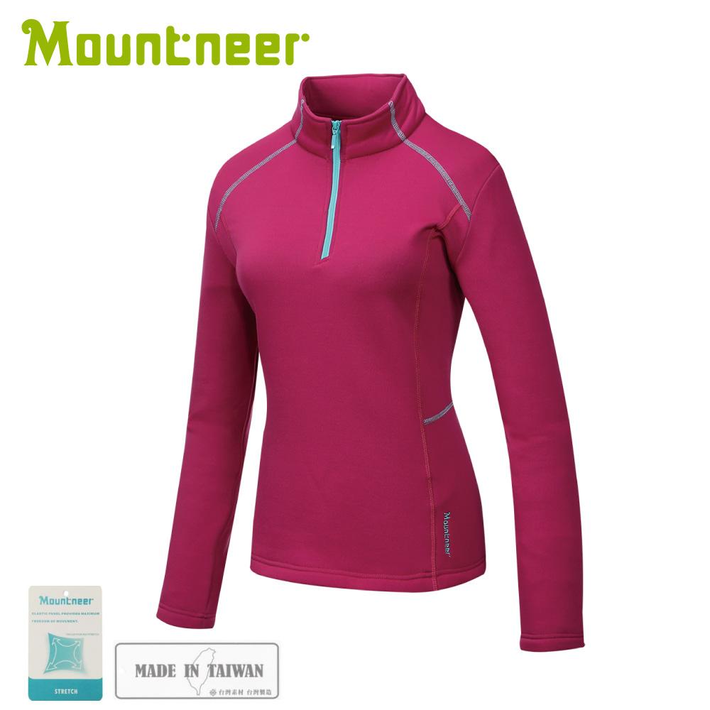 【Mountneer 山林 女針織保暖上衣《深桃紅》】32P26/保暖中層/長袖上衣