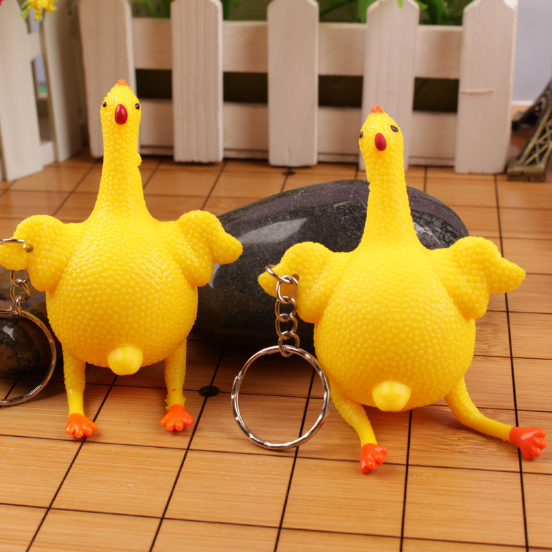 韓國 創意惡搞 生日禮物 搞怪下蛋雞發洩下蛋雞玩具鑰匙圈