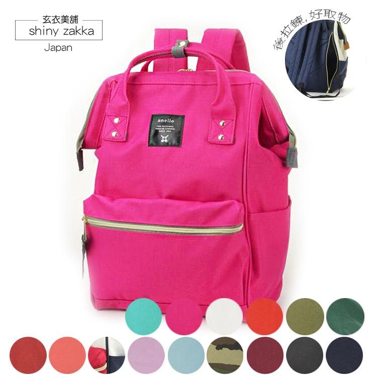 後背包-日本品牌包Anello新版後拉鍊大開口後背包M-桃粉-玄衣美舖