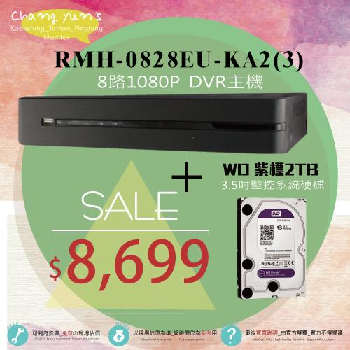 高雄台南屏東監視器RAH-0828EU-K AHD 8路-DVR 1080P監控主機WD10PURX紫標2TB 3.5吋監控系統硬碟