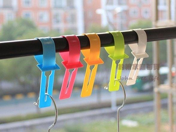 約翰家庭百貨BE140彩色防風刮衣架鎖固定掛扣衣架扣衣架掛帶10個裝顏色隨機出貨