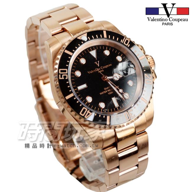 valentino coupeau 范倫鐵諾 夜光時刻不銹鋼防水男錶 潛水錶水鬼 石英錶 玫瑰金x黑 V61589黑框玫