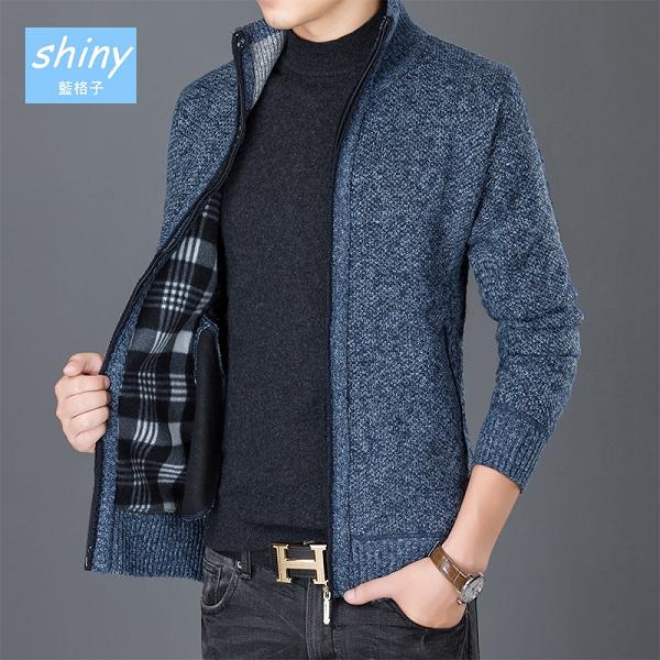 【Y191】shiny藍格子-百搭素面.男立領拉鍊寬鬆保暖針織外套