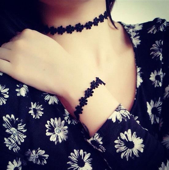 文青個性女孩雛菊蕾絲紋身短項鍊◎花町愛漂亮◎GR001