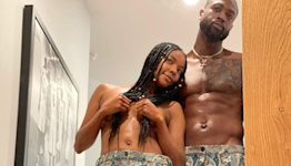 Gabrielle Union and Dwyane Wade Post Sexy Shirtless Selfie Wearing Matching Paisley Trousers
