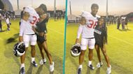 Simone Biles And Her Boyfriend Jonathan Owens Share A Sweet Kiss During His Football Practice