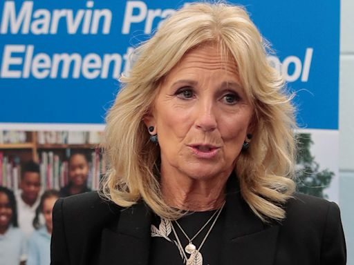 Jill Biden Does Florals for Fall in a Graphic Dress, Double-Breasted Blazer & Slingback Pumps