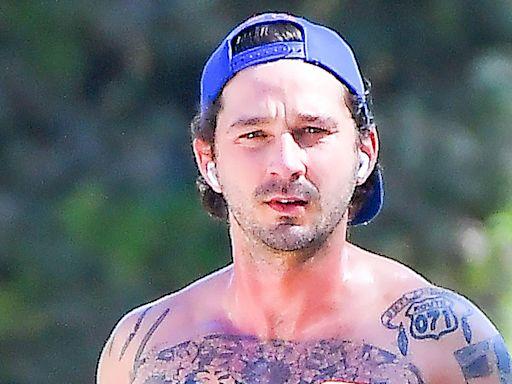 Shia LaBeouf Shows Off His Tattoos on a Run in Nike Leggings & Sleek Kicks