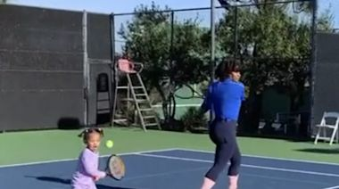 Serena Williams and her daughter, Olympia Ohanian, fit in one final tennis session together before the Australian Open