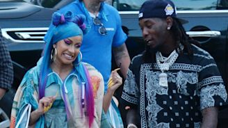 Cardi B Makes a Surprise Appearance at Coachella With Blue Hair and Pink Chanel Sneakers