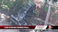 Driver's car pushes other vehicle over retaining wall into Route 9