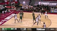 Reggie Perry with an and one vs the Milwaukee Bucks
