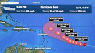Hurricane Sam's winds increase to 85 mph