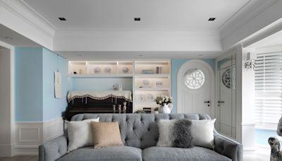 住進浪漫童話繪本裡!35坪現代輕奢美式宅,夢幻青鳥藍引領幸福生活