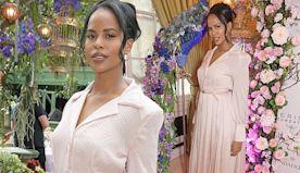 Idris Elba's bride Sabrina Elba wows in elegant pink frock