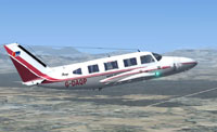Screenshot of Piper Navajo in flight.