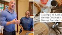 Dwayne Johnson Shares His Famous Coconut Banana Pancake Recipe With Chef Puttie's Help