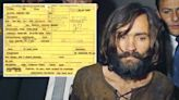 Charles Manson booking sheet from Manson family murders on sale for $95k