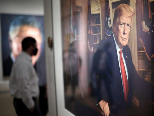 Trump portrait displayed alongside those of other presidents