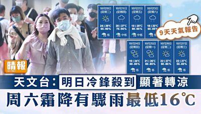 天文台︳明日冷鋒殺到顯著轉涼 周六霜降有驟雨最低16°C - 晴報 - 家庭 - 家居