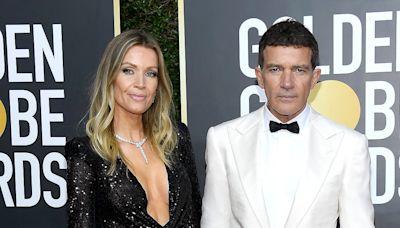 Antonio Banderas and Girlfriend Nicole Kimpel Walk the Golden Globes Red Carpet