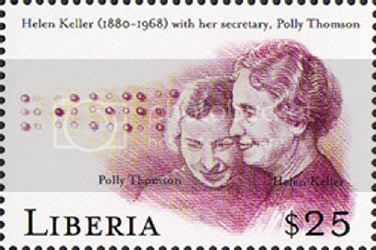 Helen Keller with her secretary, Polly Thomson. (Liberia, 1999)