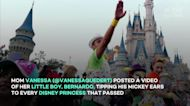 Gentlemanly toddler shocks Disney Princesses when he tips his hat to them