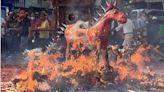 中斷近60年儀式恢復 鹿草圓山宮因疫情恢復「放火馬」
