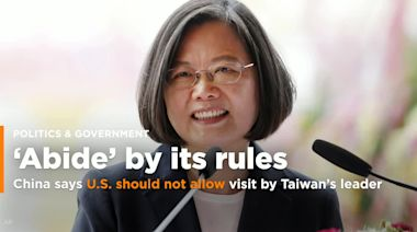 China said the U.S. should not allow an ongoing visit by Taiwan's president