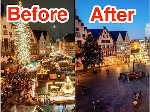 Before-and-after photos show how the coronavirus pandemic emptied out Europe's famous Christmas markets