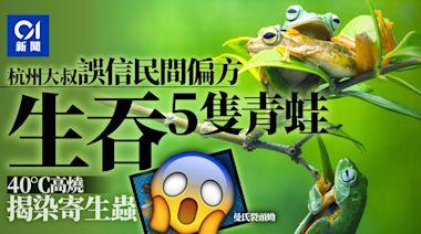 浙江五旬男誤信偏方生吞5隻青蛙 高燒求診揭感染曼氏裂頭蚴