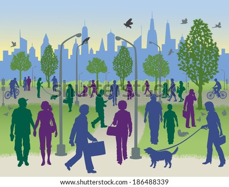City Park Clipart People Walking in a City Park