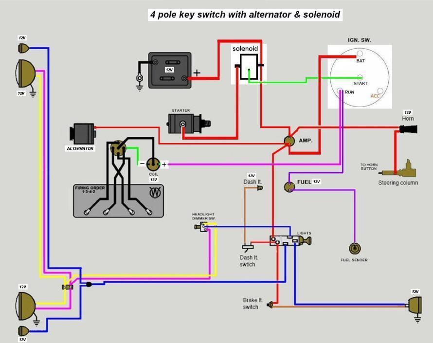 wiring_diagram3 6volt solenoid wiring please help the cj2a page forums page 2 wiring diagram for 4 pole starter solenoid at creativeand.co