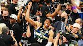LeBron James congratulates Giannis Antetokounmpo on winning NBA Finals
